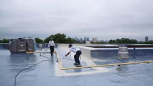 Flat roof repair with foam roofing
